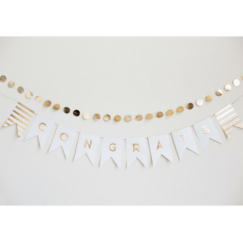 Cream and Gold Letter Banner