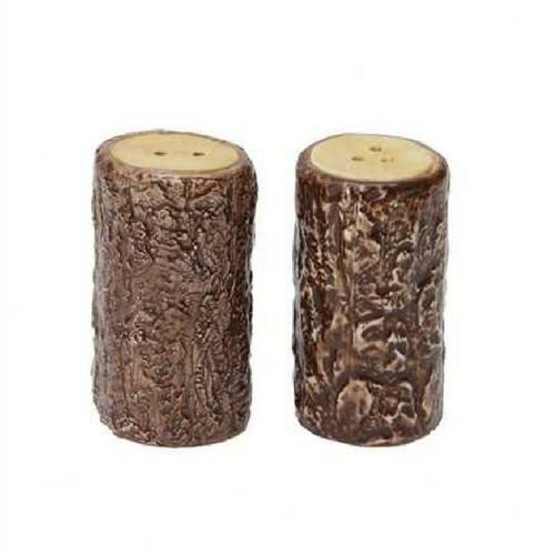 "2-3/4""H Ceramic Tree Stump Shaped Salt & Pepper Shakers, Set of 2"