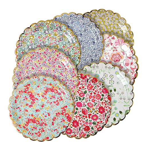Assorted Floral Print Plates