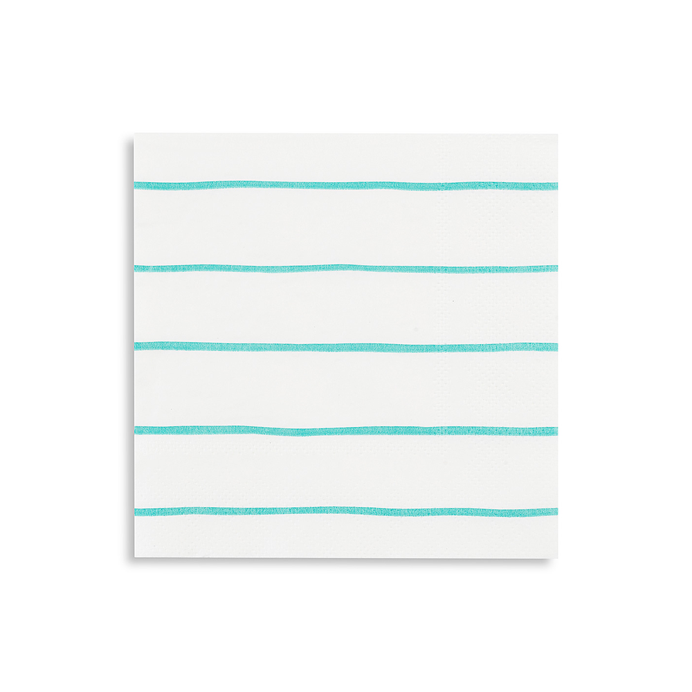 Aqua Frenchie Striped Petite Napkins from Daydream Society