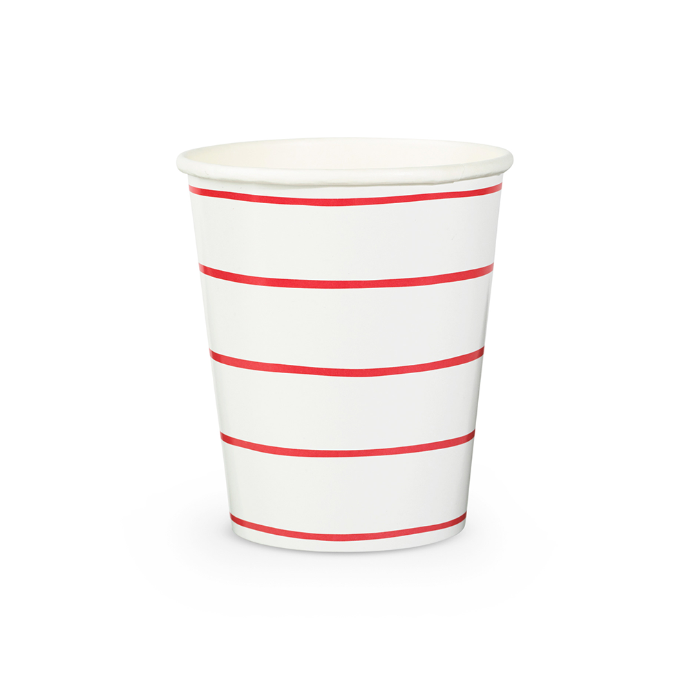 Candy Apple Frenchie Striped 9 oz Cups from Daydream Society