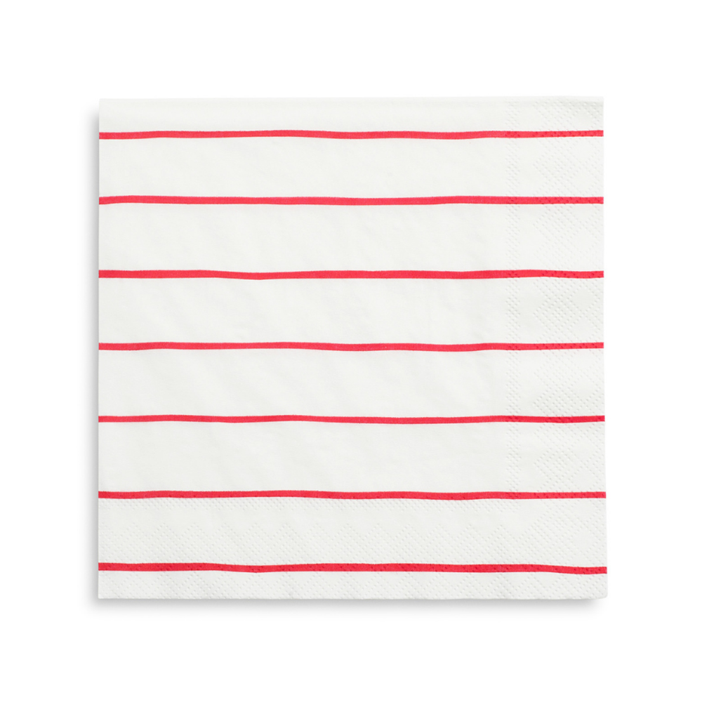 Candy Apple Frenchie Striped Large Napkins from Daydream Society