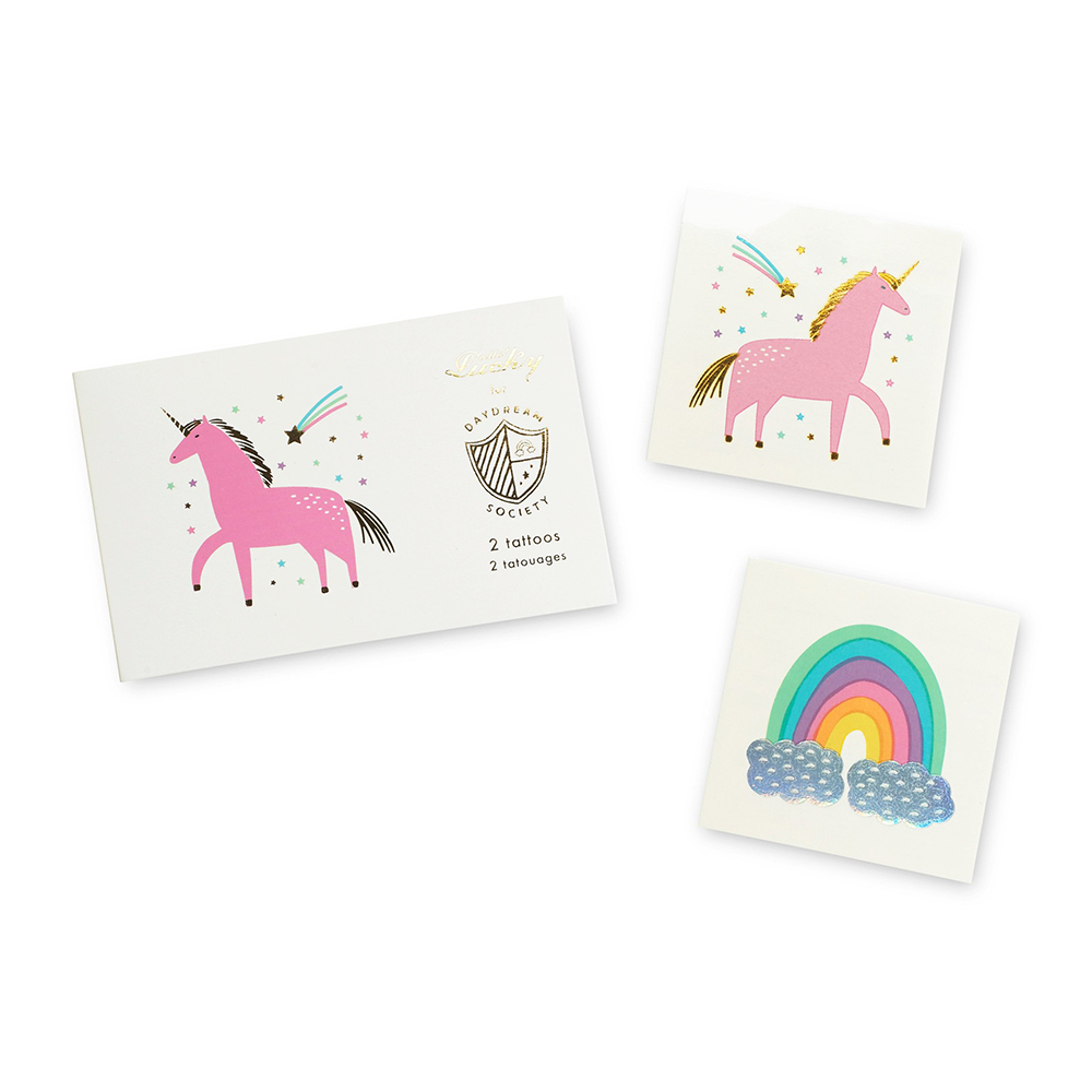unicorns + rainbows temporary tattoos from daydream society