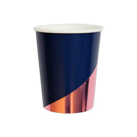 Navy  & Copper Colorblock Cups