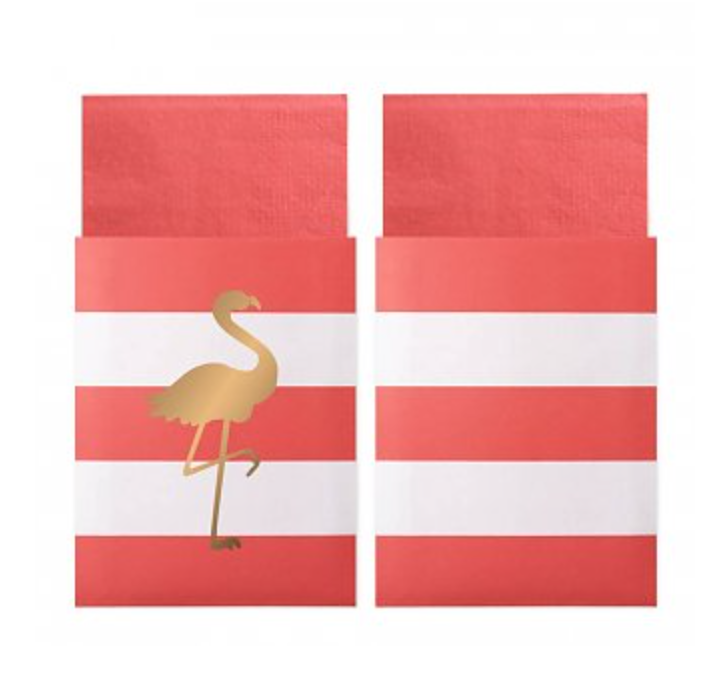 cute preppy napkins in flamingo theme bags stripes gold pink