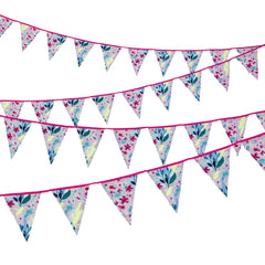 Fluorescent Floral Fabric Bunting
