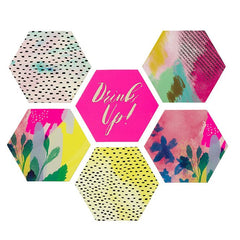 Fluorescent Floral Card Coasters