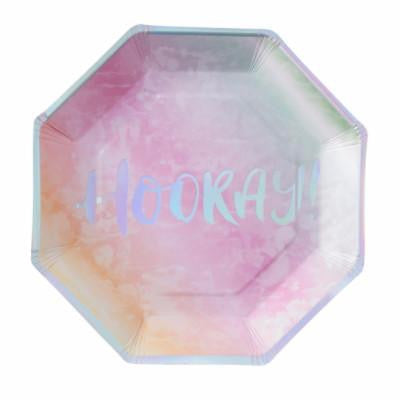 """Hooray"" Rainbow Plates"