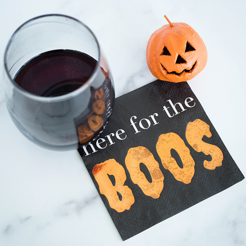 """Here For The Boos"" Spooktacular Cocktail Napkins"