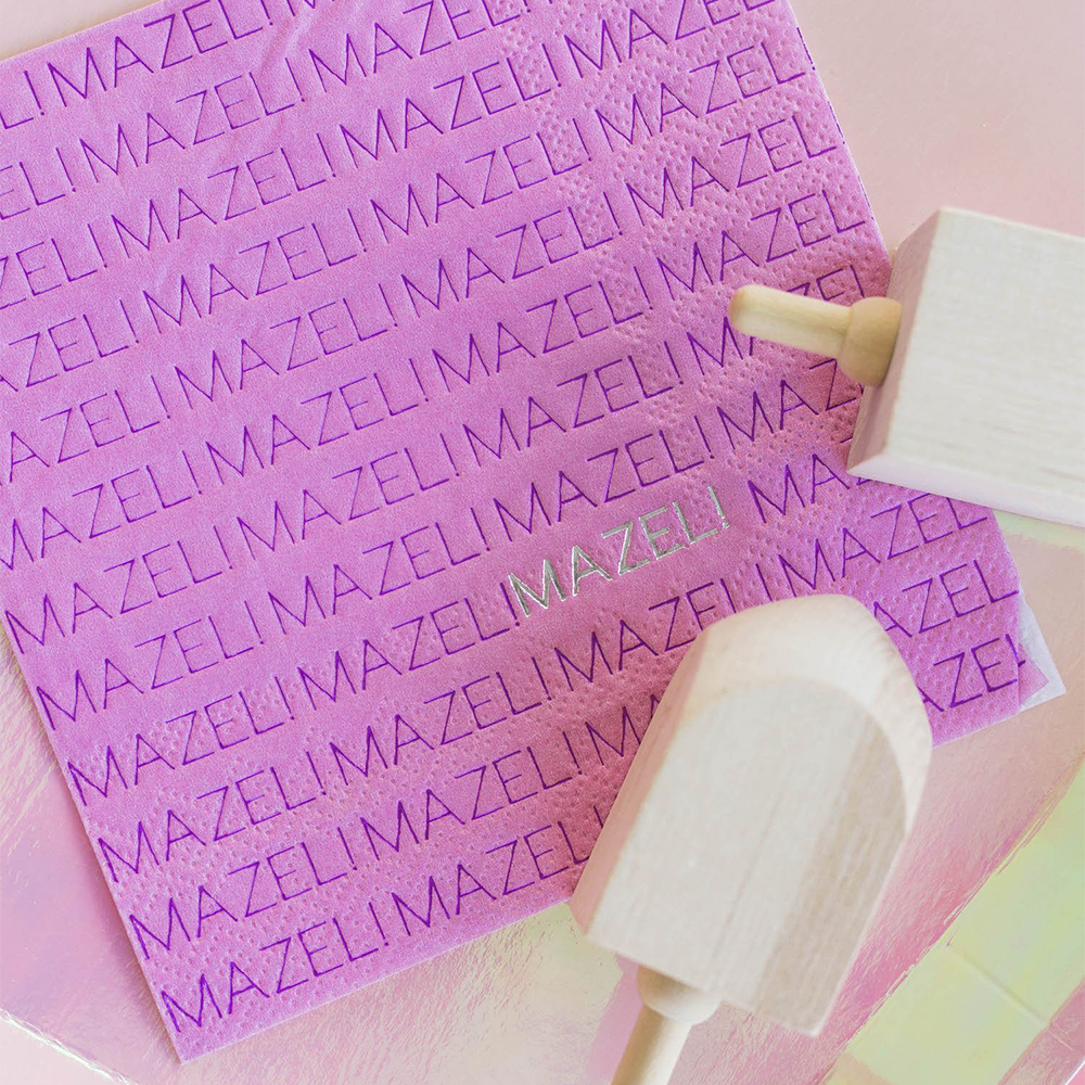 "Pink ""Mazel"" Napkins from Jollity & Co"