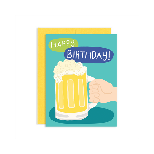 """Happy Birthday"" Beer Mug Greeting Card, Jollity & Co"