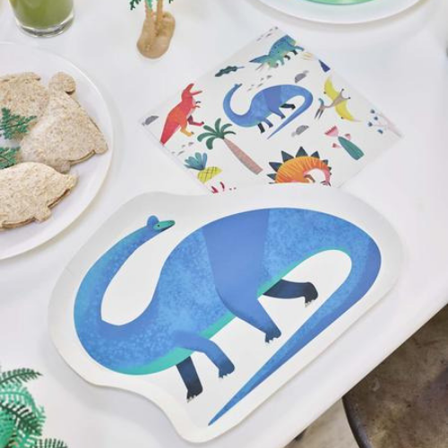 Jollity & Co, Die-Cut Dinosaur Dinner Plates Tablescape