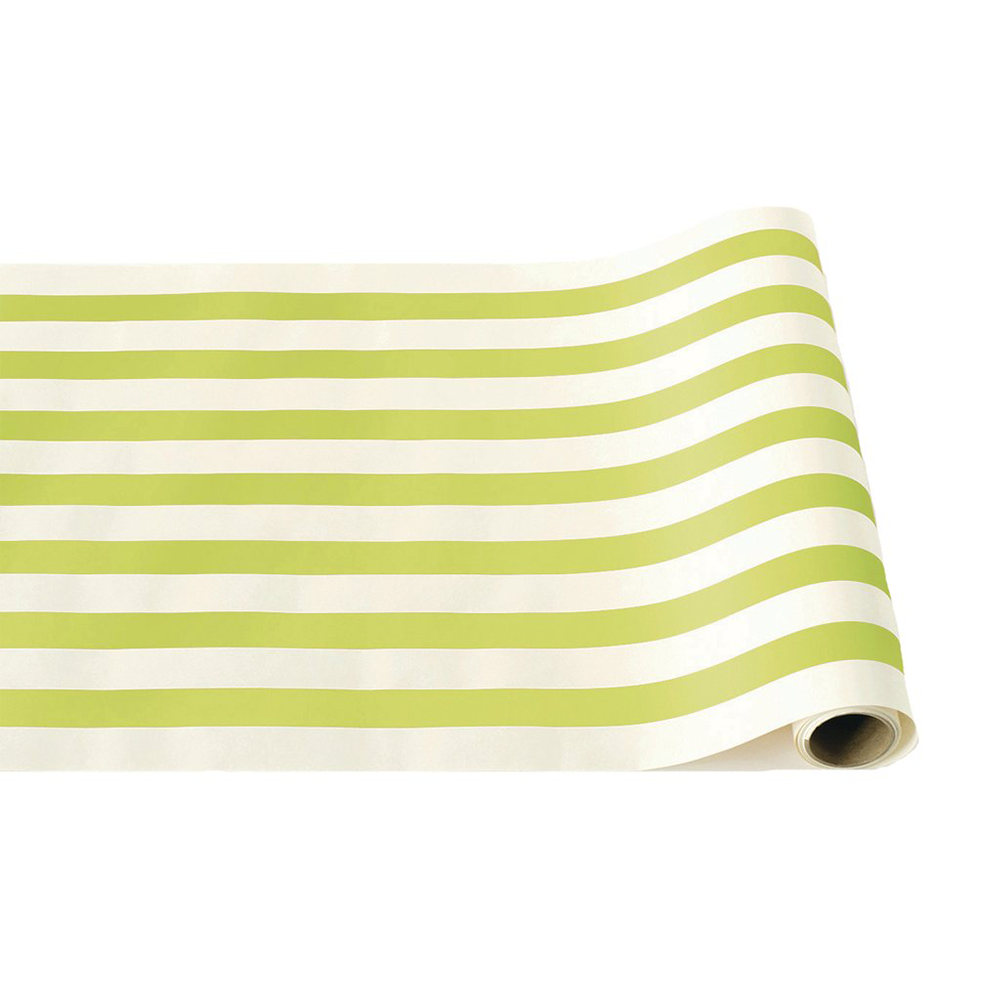 Bright Green Striped Table Runner