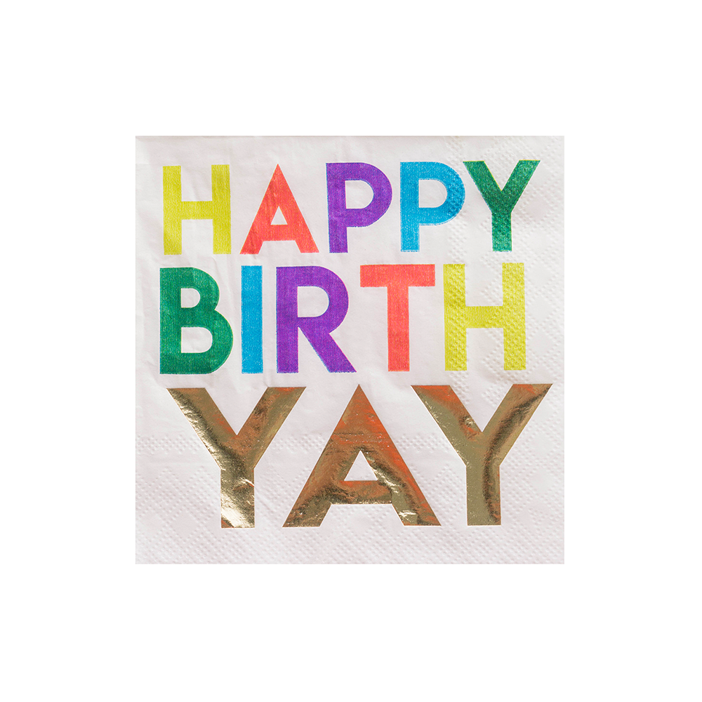 """Happy BirthYAY"" Witty Cocktail Napkins from Jollity & Co"