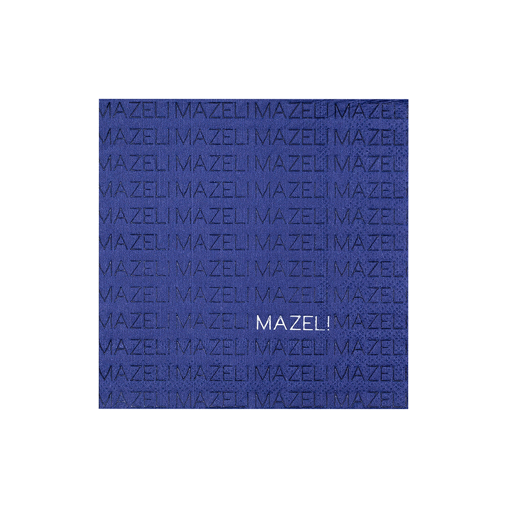 "Happy Challah Days Navy ""Mazel"" Cocktail Napkins from Jollity & Co"