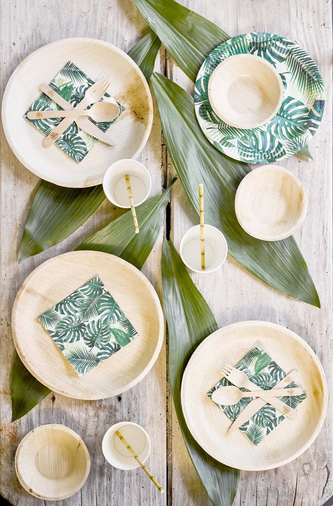 Jollity & Co, Wood Palm Leaf Dinner Plates Tablescape
