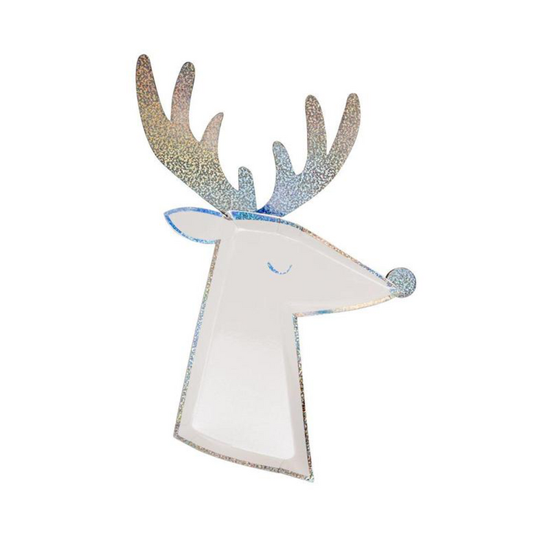 Die-Cut Reindeer Plate in white and silver sparkle