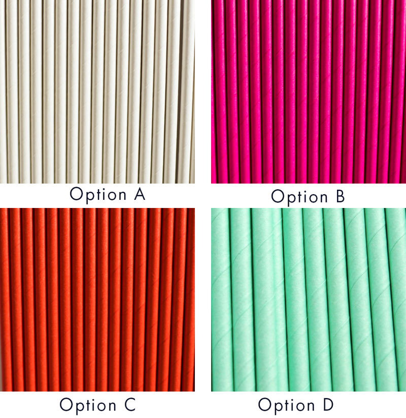 Solid Color Paper Straws, 4 Styles