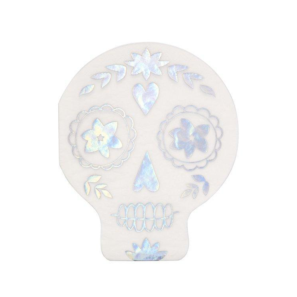 Die-Cut Skull Napkins with holographic foil detail