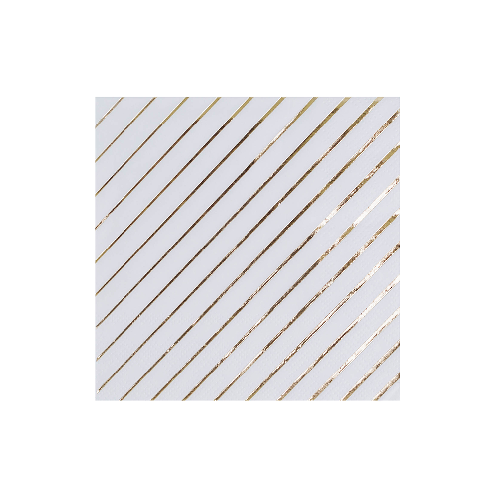More Party Faves White & Gold Striped Cocktail Napkins from Jollity & Co