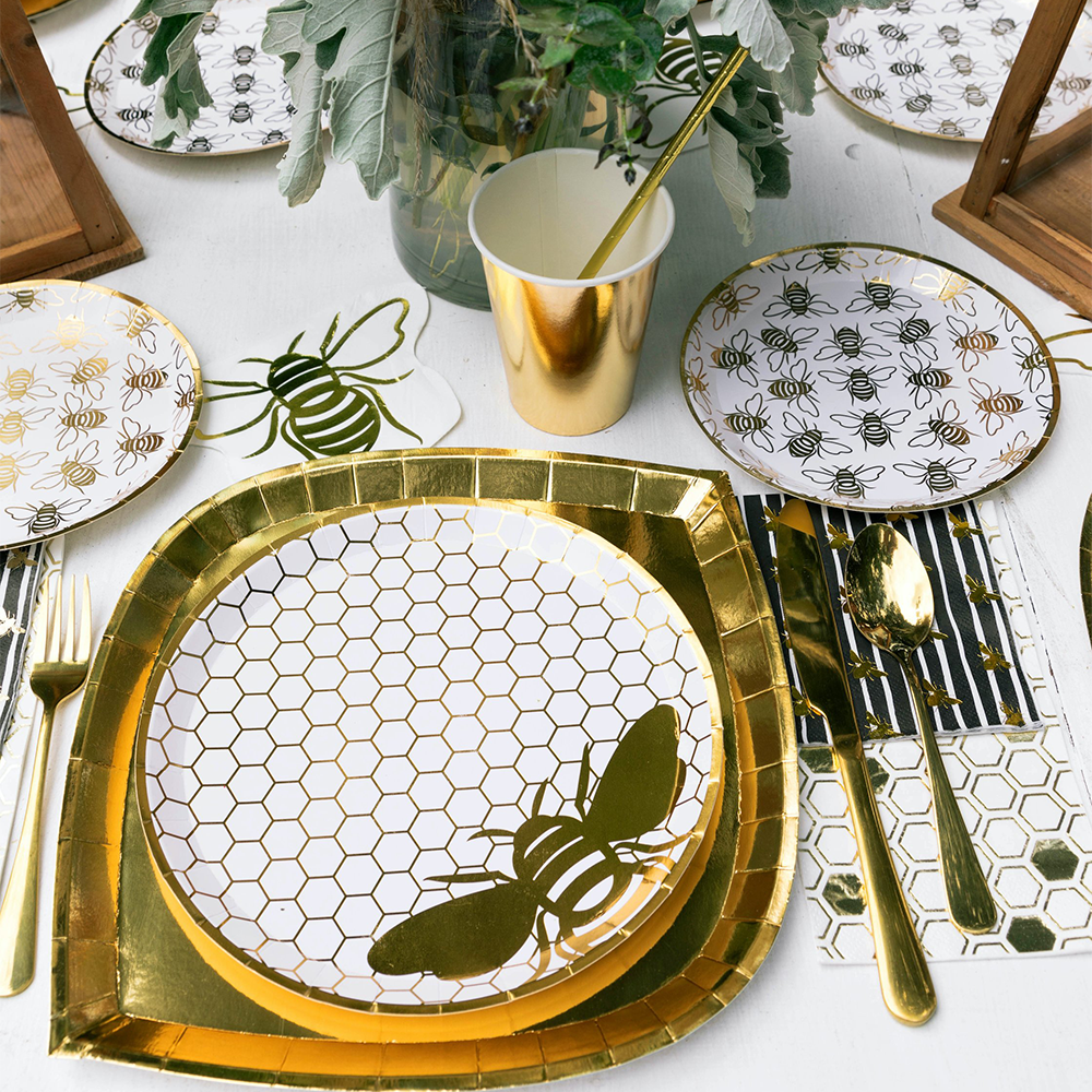 Hey, Bae-Bee Gold Foil  Dinner Plates from Jollity & Co