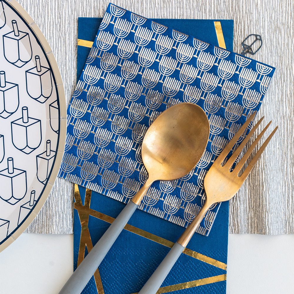 Silver Menorah Print Happy Challah Days Cocktail Napkins from Jollity & Co