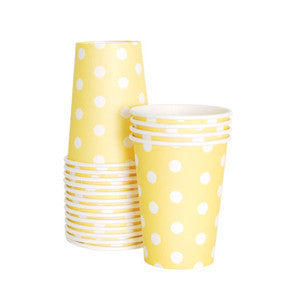Yellow with White Polka Dot Cups