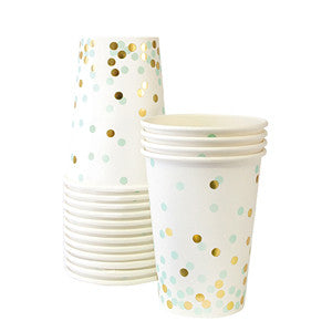 Mint Confetti Pattern Cups