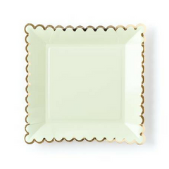 Mint & Gold Square Plates