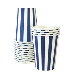 Navy Stripe Cups