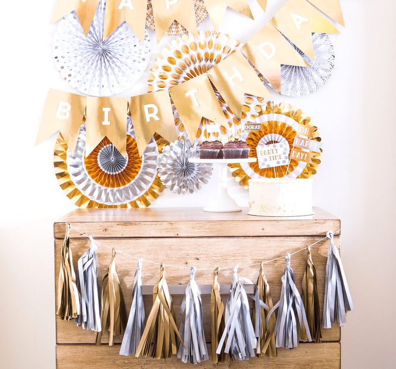 GOLD AND SILVER TASSEL BANNER