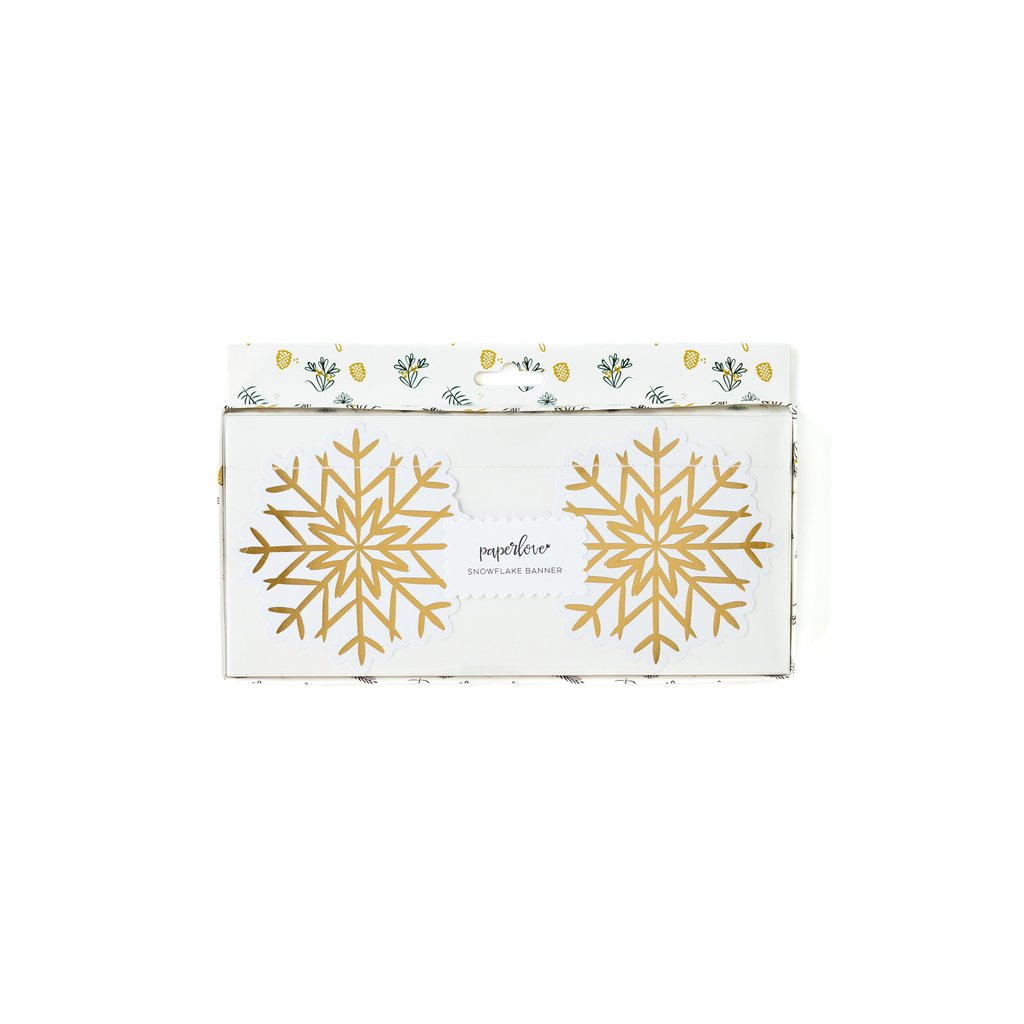 White and Gold Foiled Snowflake Banner