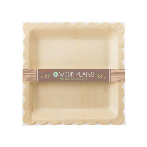 Wood Scallop Edged Plates, Jollity & Co