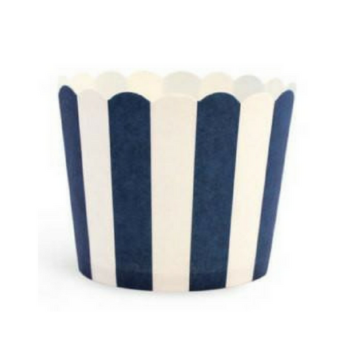 White & Navy Stripes - Baking Cups
