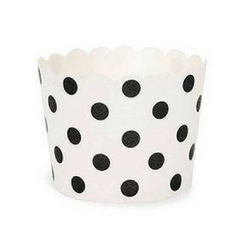 White with Black Polka Dots - Baking Cups