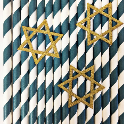 Star of David Paper Straws - Set of 25