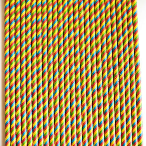 Rainbow Striped Paper Straws -Set of 25