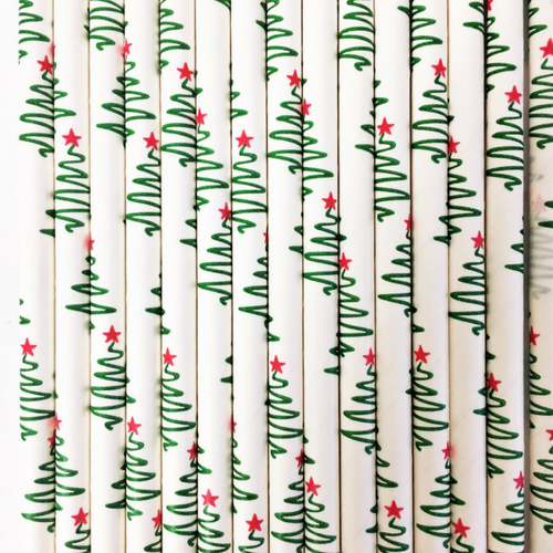 Christmas Tree Paper Straws - Set of 25