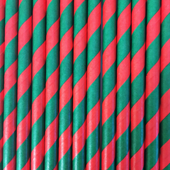 Red & Green Striped Paper Straws