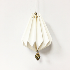 White Origami Water Drop Ornament