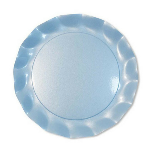 Pearly Blue Ruffled Plates