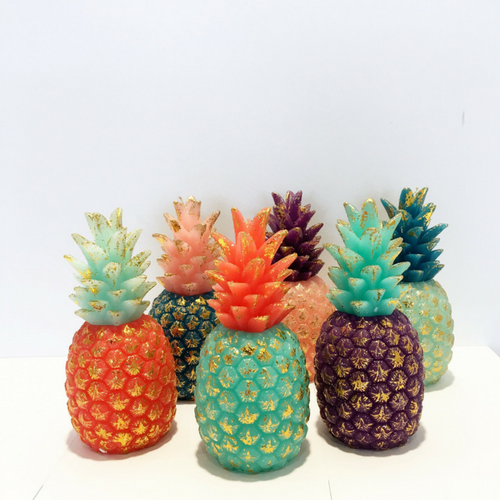 Two-Tone Ombre Pineapple Candles