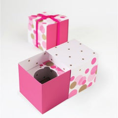 Pink & Gold Polka Dots - Cupcake Box
