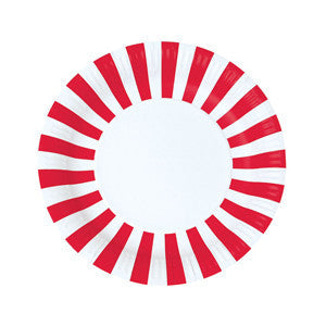 Red Stripe Rimmed Plates