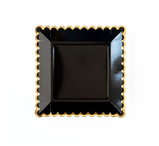 Black and Gold Square Plates