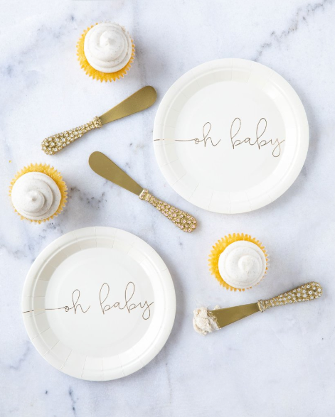 White and Gold Saying Plates