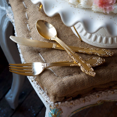 Gold Plastic Flatware