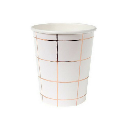 Rose Gold Grid Patterned Cups