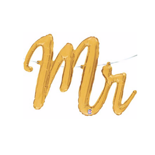 "Gold ""Mr"" Script Balloon"