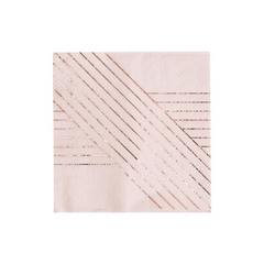 Light Pink and Gold Striped Lunch Napkins